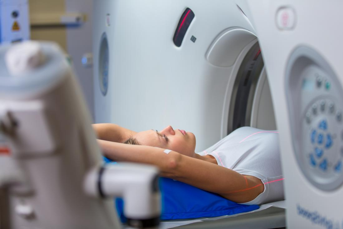 Woman having a CT scan