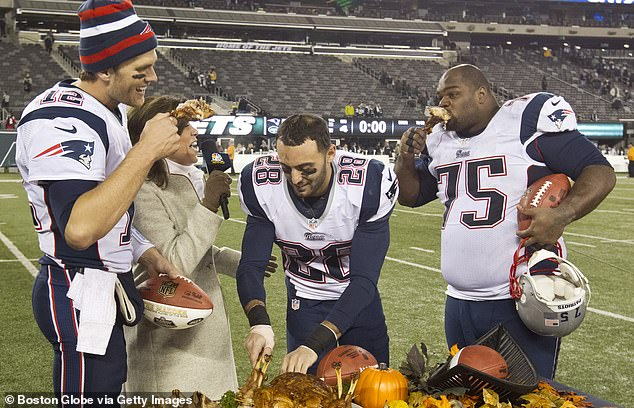New England Patriots players indulged in turkey on the field on Thanksgiving, but for most of the year they keep to regimented diets