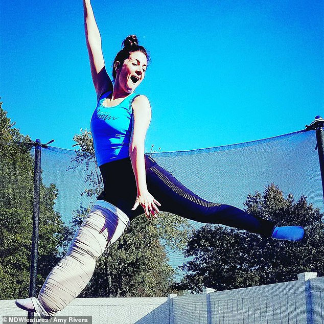 Even when her leg was still inflamed, Amy was determined to live her life to the fullest, including jumping on trampolines