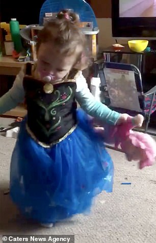 Before being diagnosed,Ryleigh would dress up and dance around with her head tilted