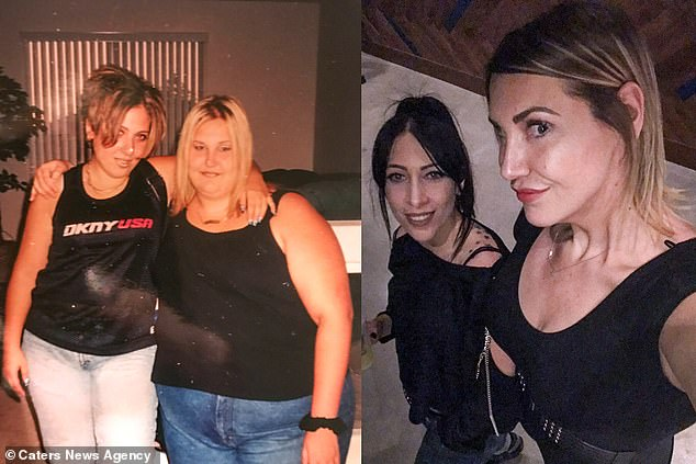 From a size 32 (UK 28) to a size 8-10 (UK size 12-14). Vanessa is pictured with the same friend before (left) and after (right) her weight loss