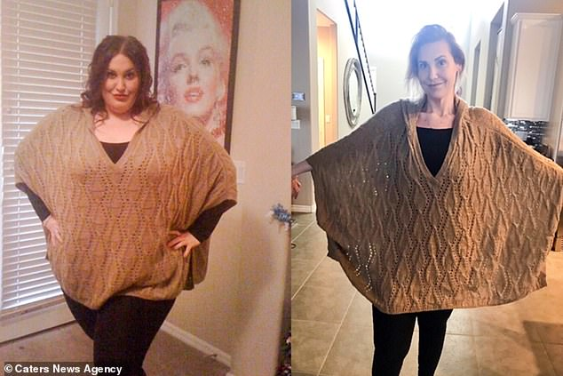 Pictured: left, Vanessa wearing a poncho at her heaviest, right: Vanessa wearing the same poncho after her weight loss
