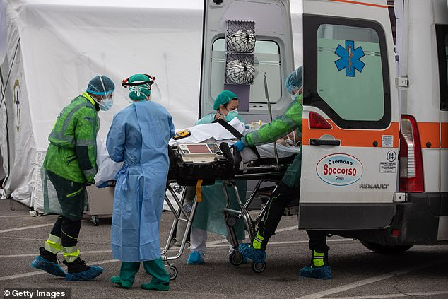 In the US, a growing number of coronavirus hospitalizations are for young people. Pictured: a patient is rushed to care at field hospital set up in Italy by a US charity