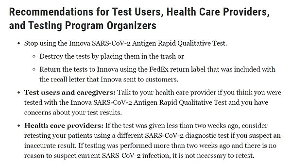 The FDA told Americans to stop using the tests and 'destroy' them or return the tests to Innova